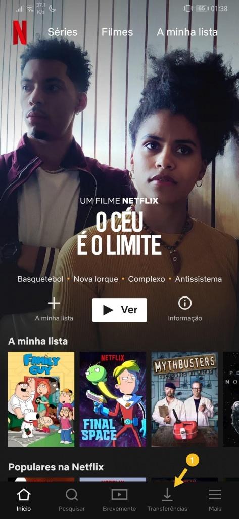Netflix Transferências automáticas smartphone Android sériesv