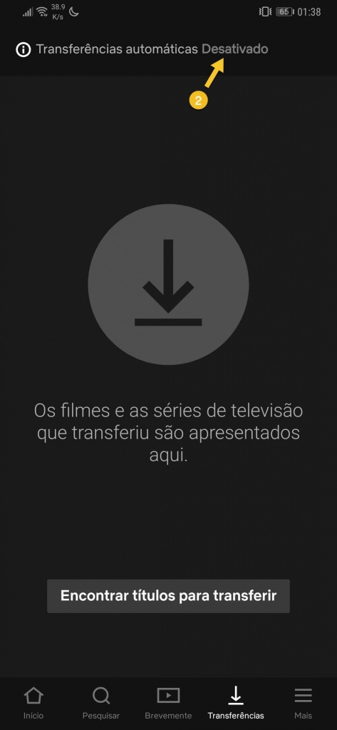 Netflix Transferências automáticas smartphone Android séries