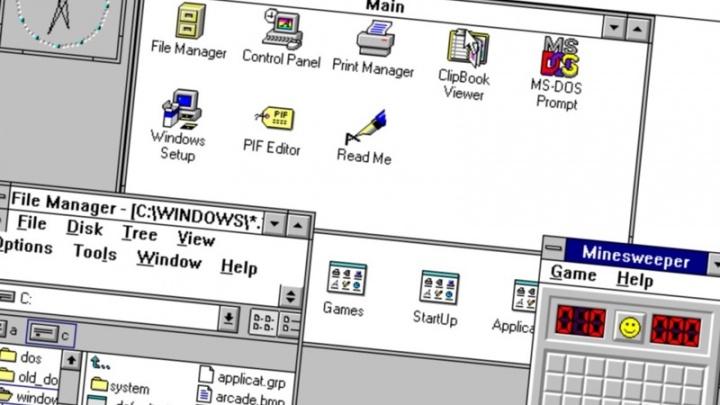 Windows 3.0 explorador ficheiros Microsoft passado