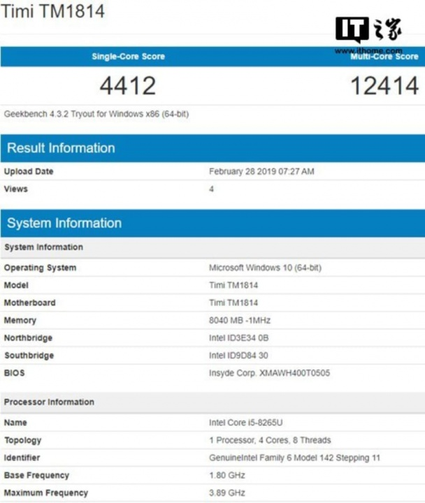 Xiaomi Notebook Geekbench Windows 10 Microsoft