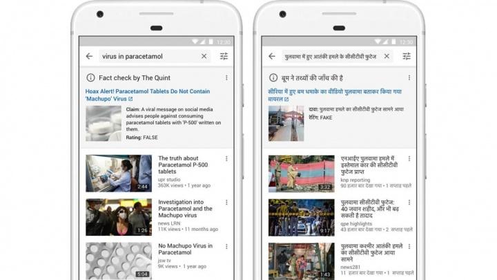 YouTube Google fact check informação falsa