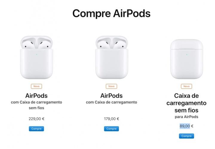 AirPods Apple lançamento chip carregamento