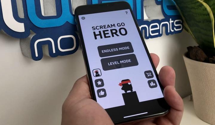 Imagem do jogo Scream Go Hero: Eighth Note Yasuhati. Tem de gritar para o controlar
