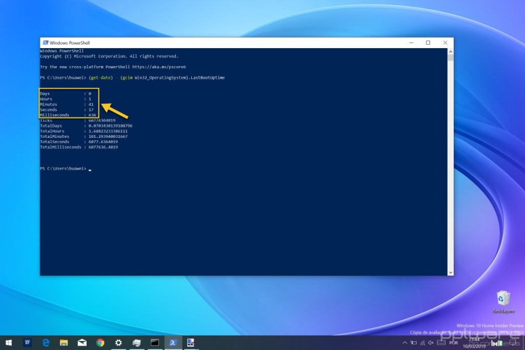 Windows 10 tempo ligado funcionar