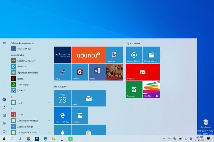 Menu Iniciar Windows 10 abrir apps fechar