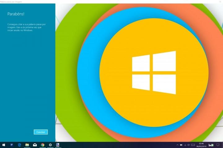 Windows 10 autenticação imagem gestos palavra passe