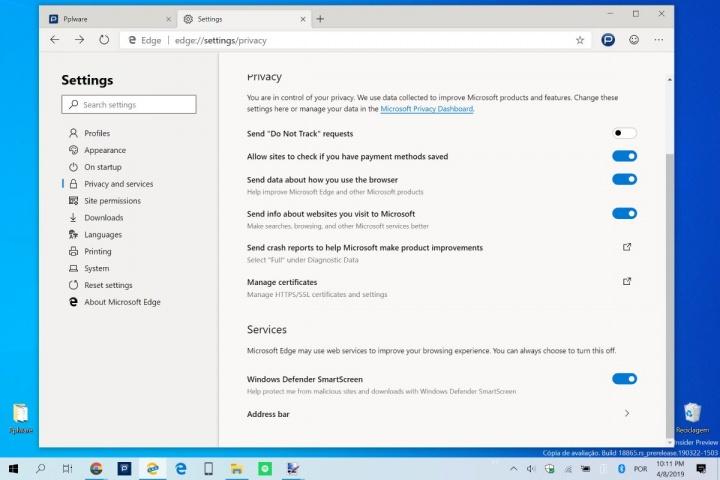 Edge Google pesquisa motor Microsoft