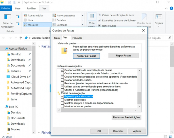 Explorador de Ficheiros do Windows