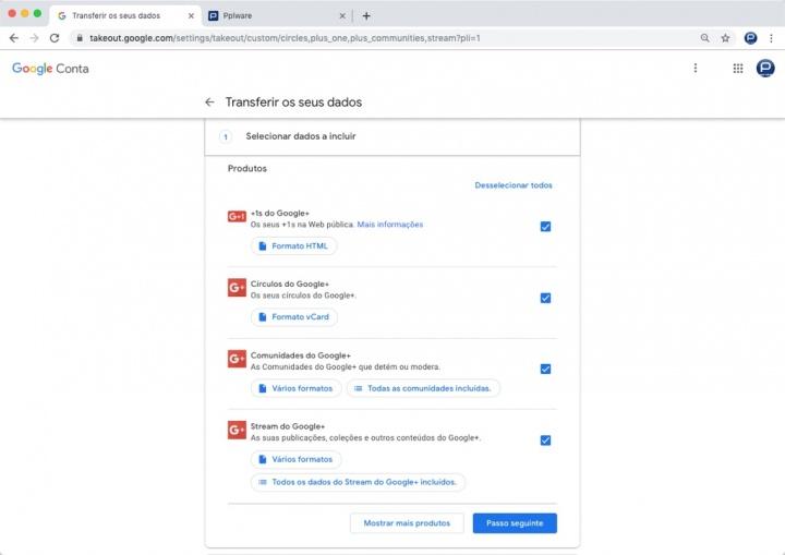 Google+ exportar dados Google descarregar