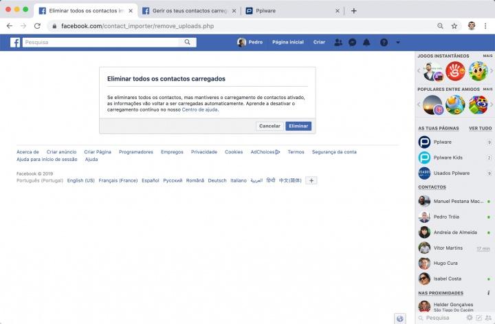Facebook recolheu contactos apagar conta