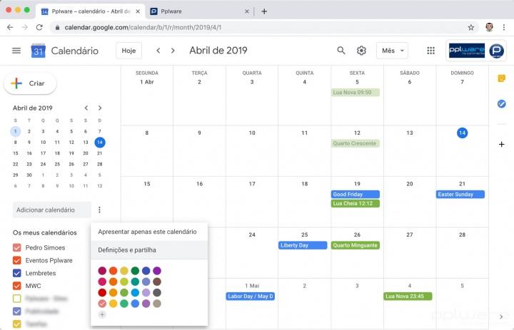 Google Calendar calendário partilhar agenda