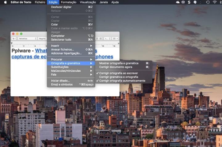 macOS corretor ortográfico ativar app