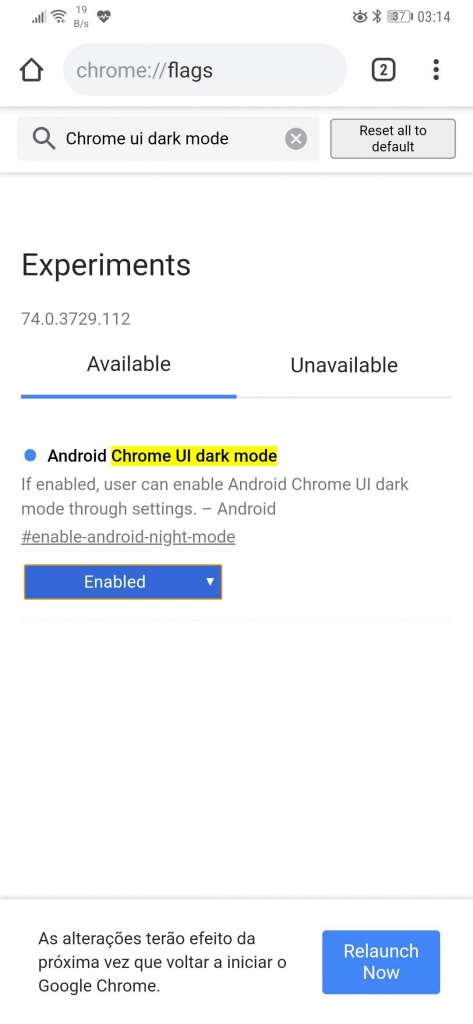 chrome dark mode browser google android