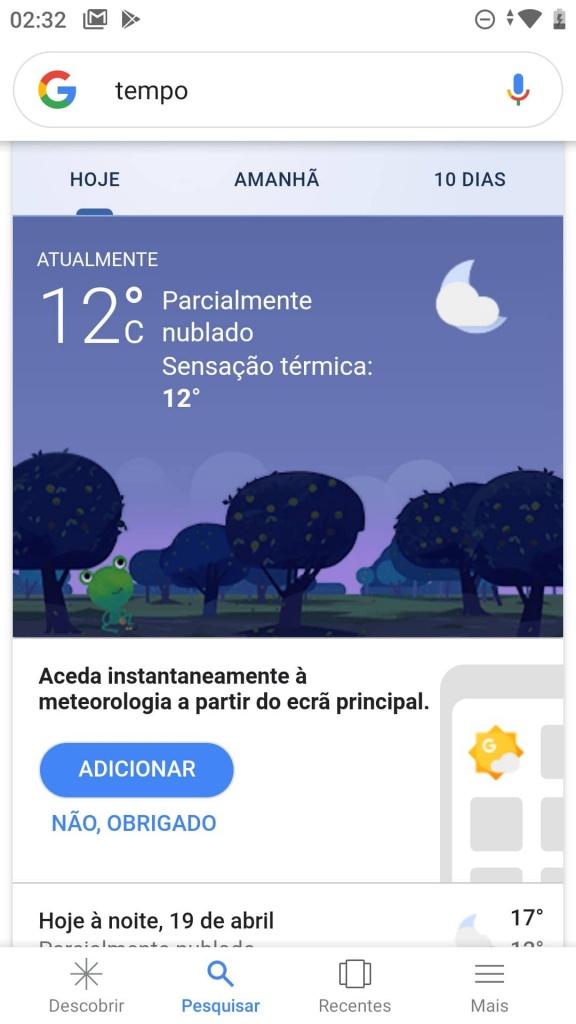 previsão tempo Android Google app