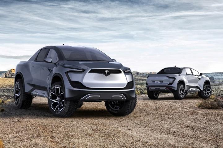 Imagens de conceito do veículo elétrico Tesla Pick-Up