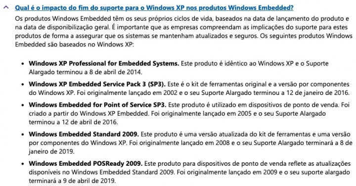 Windows XP Microsoft morre suporte Windows Embedded POSReady