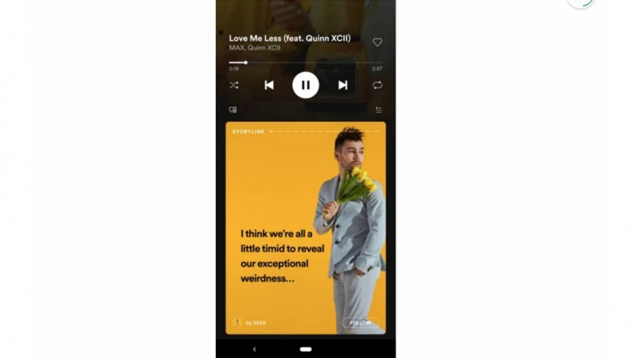 Spotify app publicidade Android iOS Stories Storyline rede social