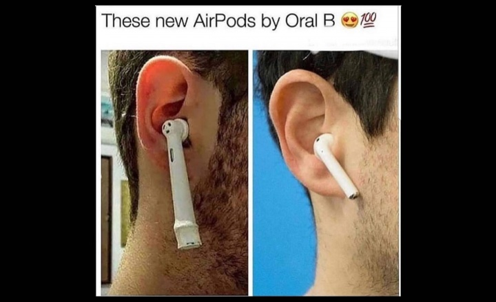 Imagem de meme com Airpods