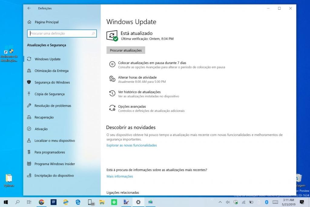microsoft windows 10 atualização maio 2019
