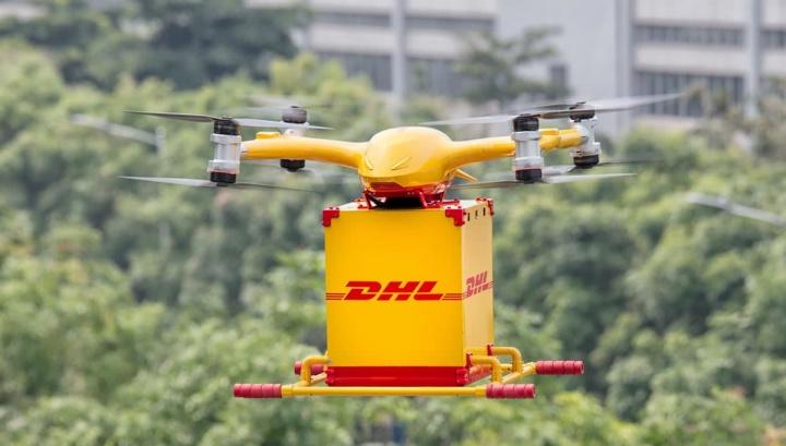Imagem drones da DHL para fazer entregas na China