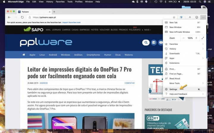 Edge Microsoft browser navegação Internet