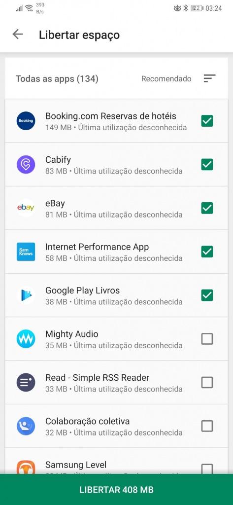Android apps espaço remover espaço
