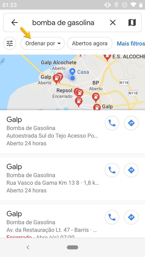 Google Maps bomba gasolina ordem