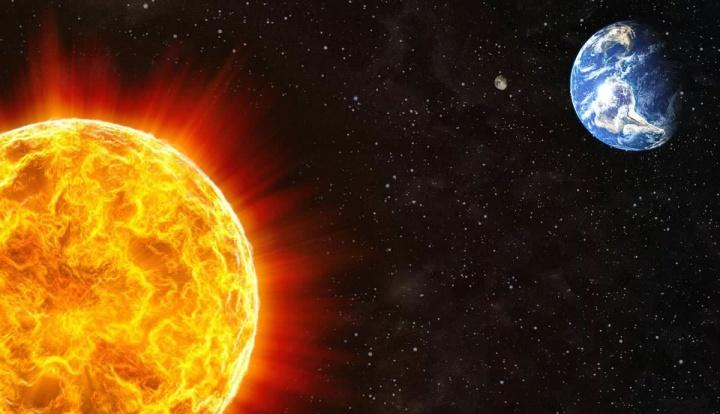 Imagem da Terra a mover-se para longe do sol
