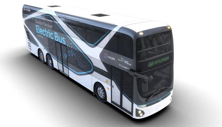 Imagem do autocarro elétrico de dois andares que a Hyundai construiu