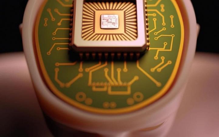 Imagem artística sobre implantes cerebrais tipo Google