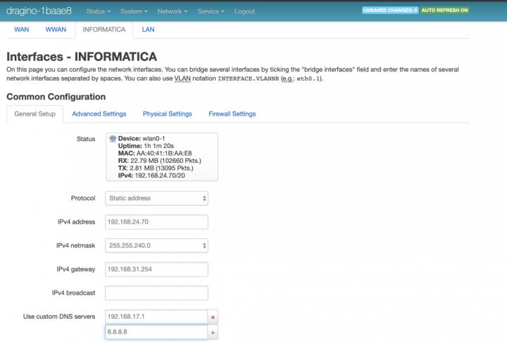 Dragino Lora Gateway como cliente de uma rede Wi-Fi