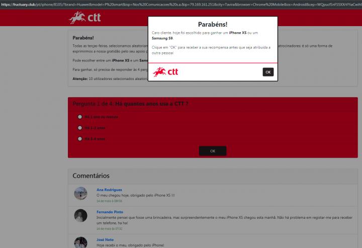 Passatempo dos CTT? PSP alerta para fraude online