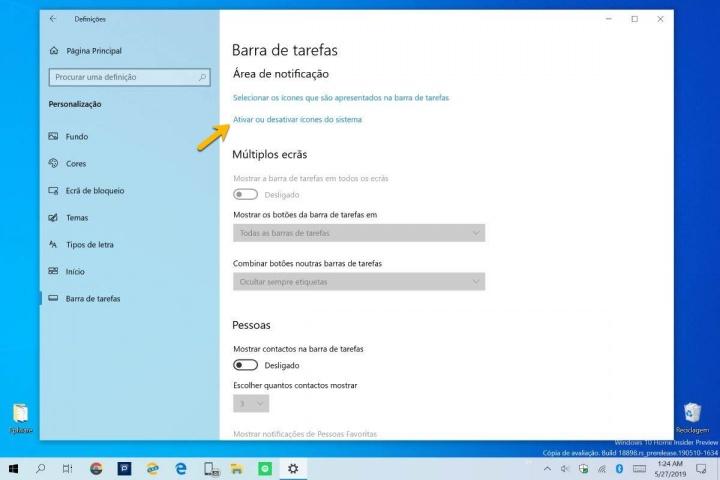 Windows 10 bateria barra tarefas indicador