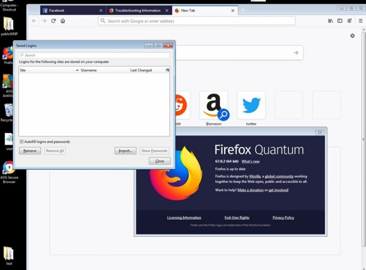 Firefox passwords antivírus AVG certificado