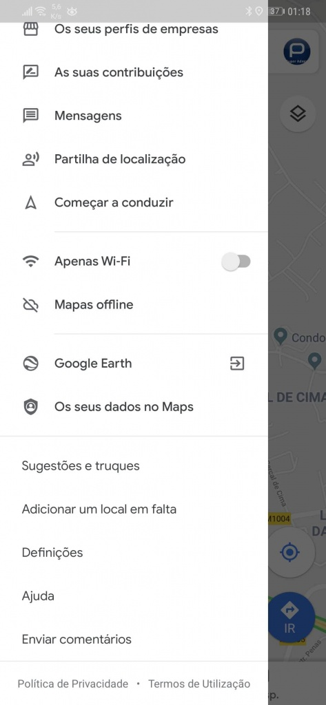 google maps velocímetro velocidade