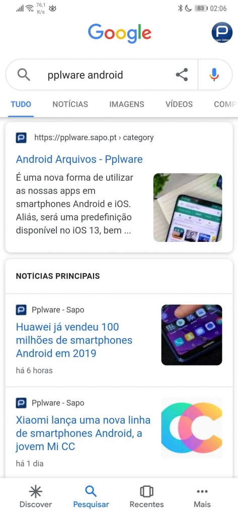 Google Android partilhar pesquisas motor