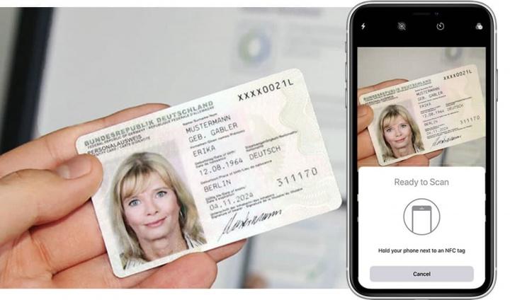 Imagem ilustra iPhone com iOS 13 a ler tags NFC no cartão cidadão da Alemanha