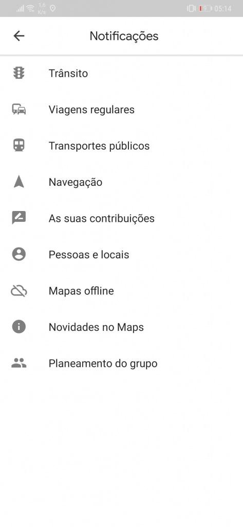 Google Maps notificações controlar utilizador