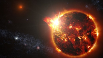 Imagem de explosão de massa coronal de uma estrela como o Sol