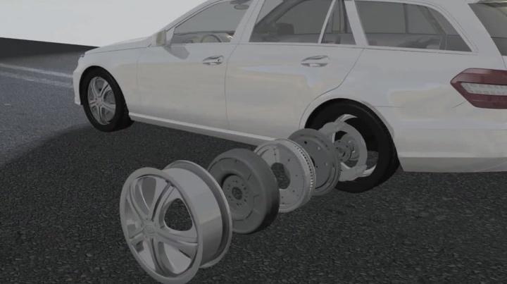 Imagem esquema de montagem motor elétrico na roda dos carros elétricos