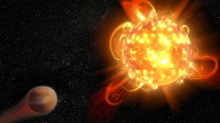 Representação artística de uma super-chama numa estrela - NASA, ESA e D. Player