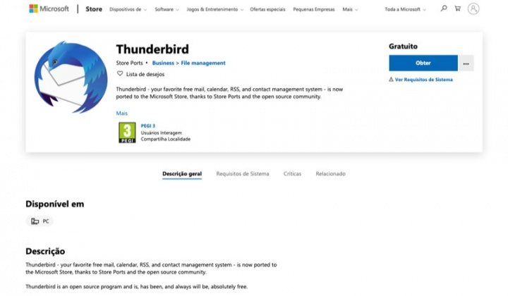Thunderbird Mozilla apps Microsoft loja