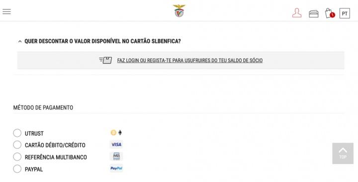 Benfica começa a aceitar pagamentos com criptomoedas