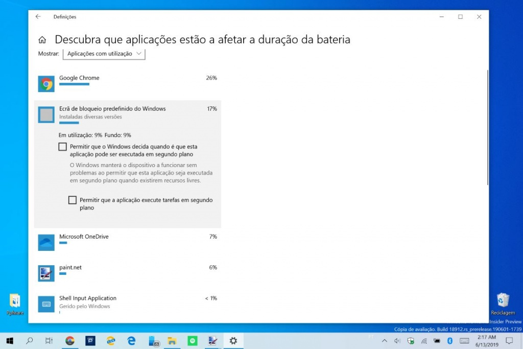 Windows 10 bateria apps consumido