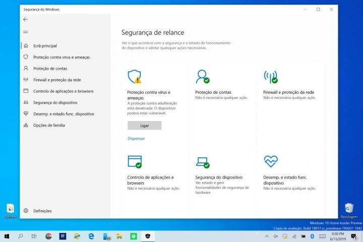 Windows 10 Windows Defender Microsoft proteção segurança