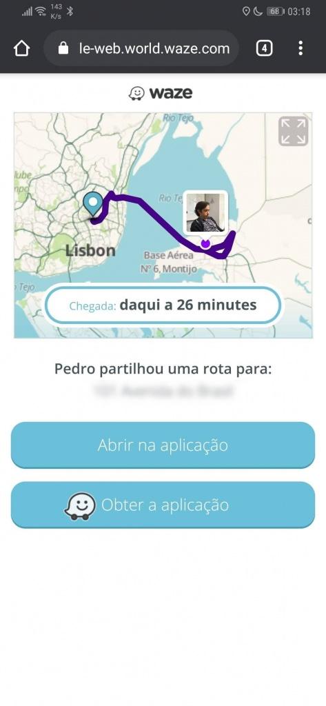 Waze viagem partilhar destino contactos