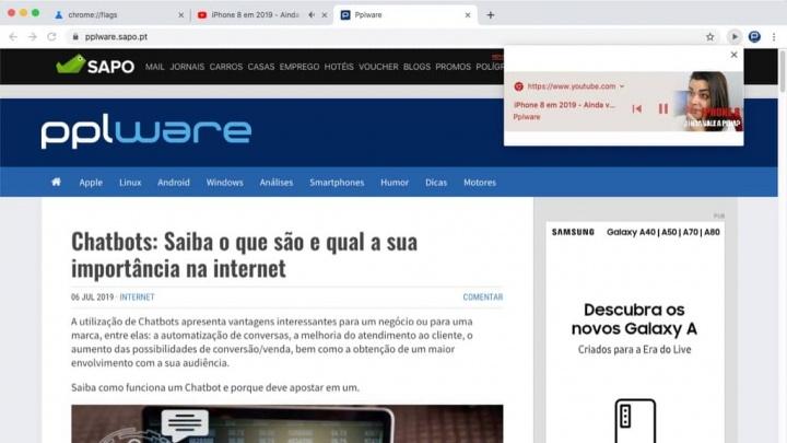 Chrome botão multimedia browser Google