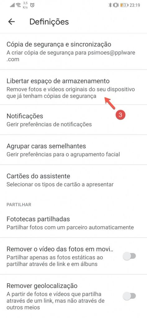 Google Fotos espaço Android limpeza