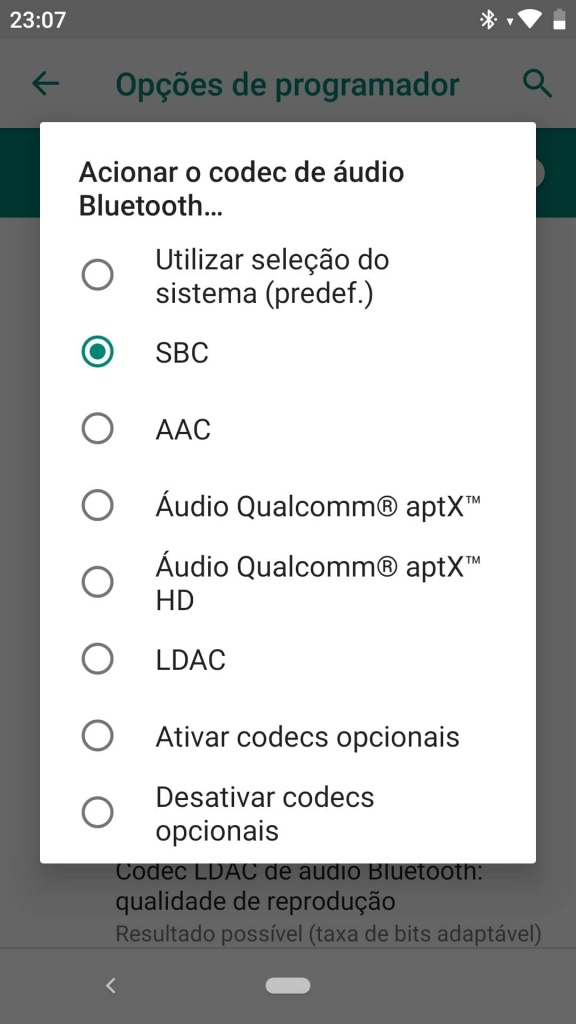 Android Bluetooth áudio Headphones codec