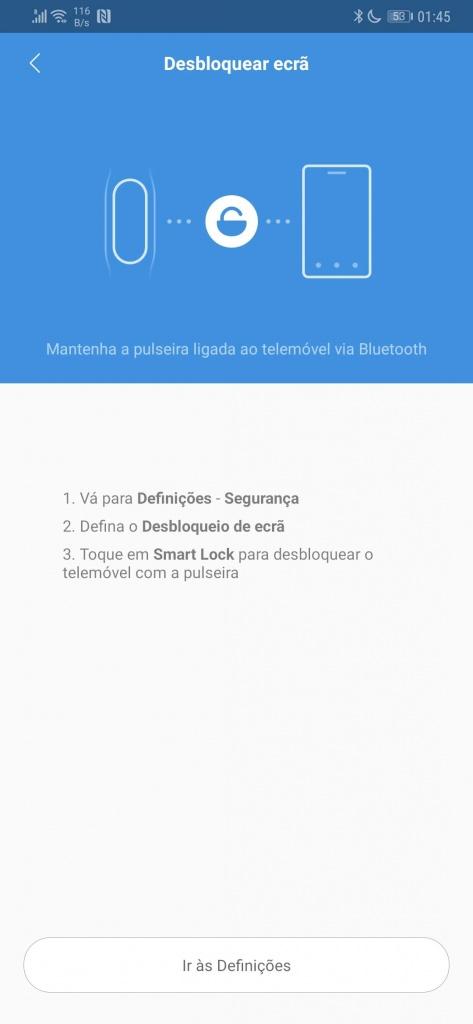 Mi Band smartband Xiaomi configurações smartphone